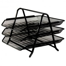 Tray for papers horizontal metal three-story