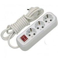 Extension cord with 3 sockets, with switch and grounding, 3 meters Makel